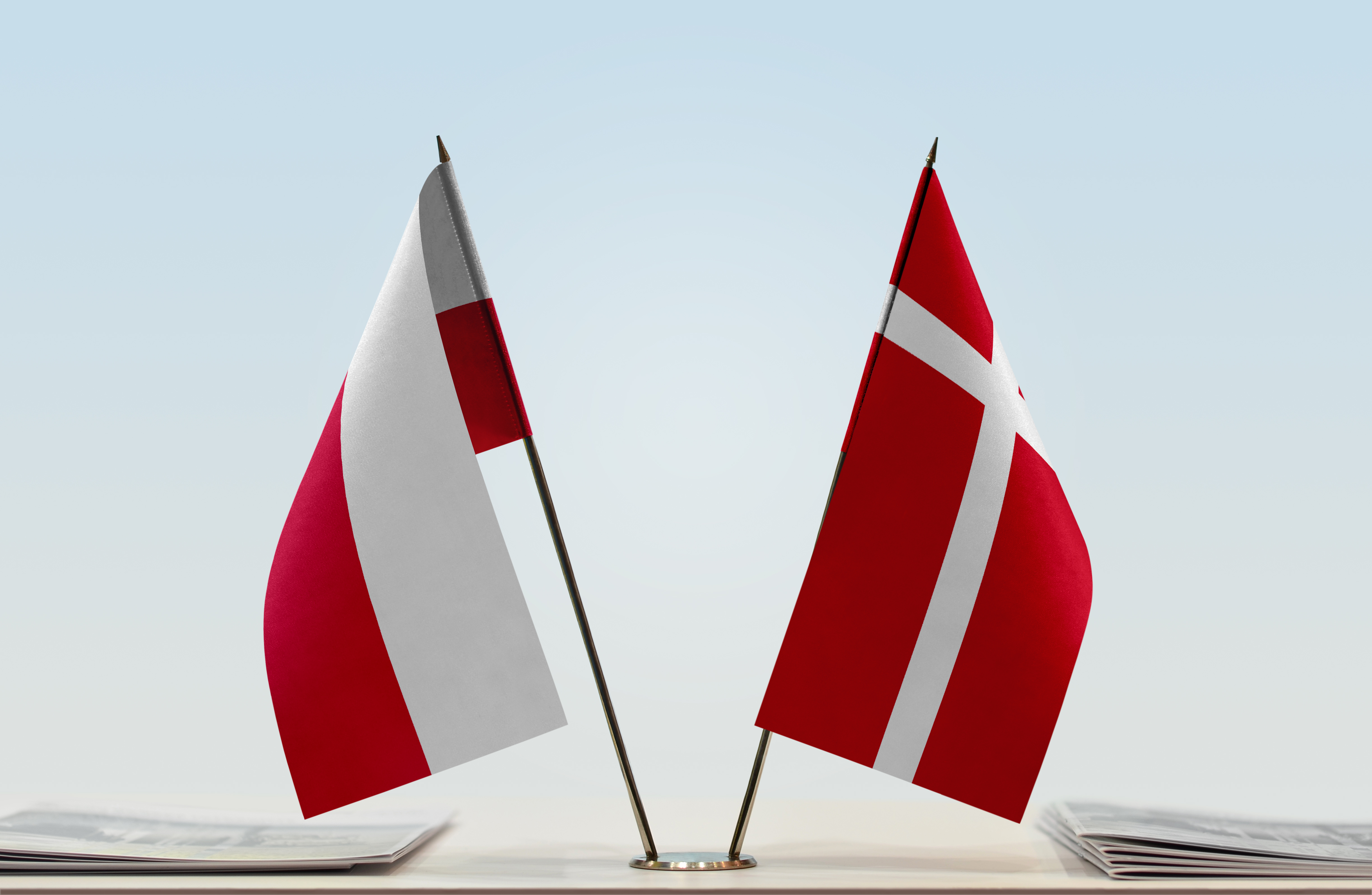 Two flags of Poland and Denmark