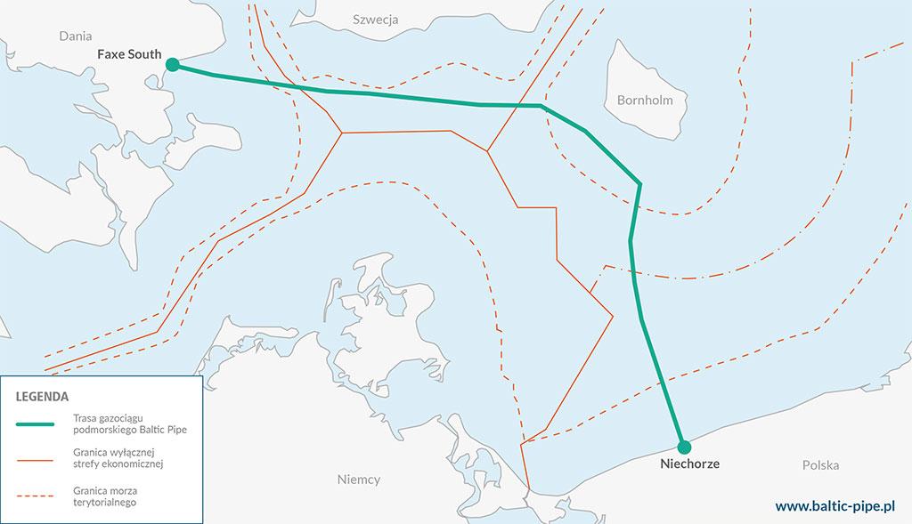 Mapa gazociągu Baltic Pipe